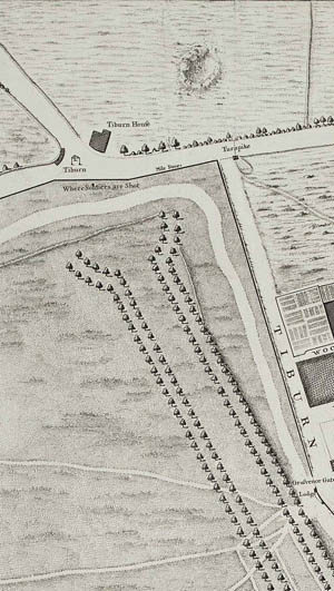 Detail from John Rocque's 1746 map of London, 1st edition, showing gallows site at Tyburn. Reproduced with permission of Motco Enterprises Limited, ref: www.motco.com